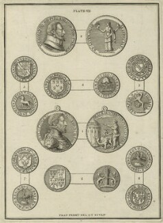 Medallions of Sir Thomas Bodley and William Herbert, 3rd Earl of Pembroke, by Francis Perry - NPG D25546