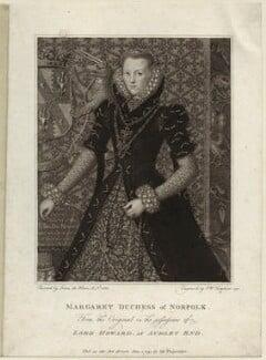 Margaret Howard (née Dudley), Duchess of Norfolk, by Peltro William Tomkins, after  Lucas de Heere - NPG D25585