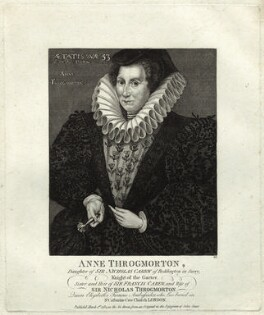 Anne Throckmorton (née Carew), Lady Throckmorton, by Thomas Trotter - NPG D25595