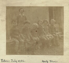 'Marjorie's school at Charleston' (group including Marjorie Strachey; Angelica Vanessa Garnett (née Bell)), by Unknown photographer, July 1926 - NPG x129606 - © National Portrait Gallery, London