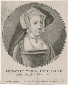 Queen Mary I when Princess Mary, by Wenceslaus Hollar, after  Hans Holbein the Younger - NPG D31946