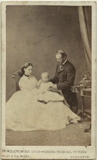 The Duke and Duchess of Hesse and by Rhine with their eldest daughter, by Hills & Saunders, published by  A. Marion, Son & Co - NPG Ax46179