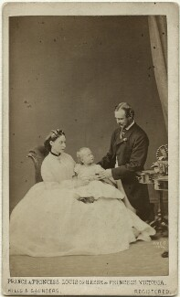The Duke and Duchess of Hesse and by Rhine with their eldest daughter, by Hills & Saunders, published by  A. Marion, Son & Co, 13 June 1864 - NPG x35076 - © National Portrait Gallery, London