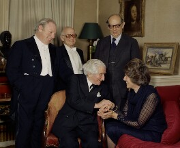 Isaac Stern, Alexander Zakin, Sir Robert Mayer, Sir Isaiah Berlin and Aline Elisabeth Yvonne (née De Gunzbourg), Lady Berlin, by Bern Schwartz - NPG P1272