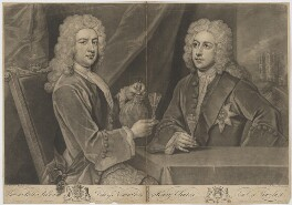 Thomas Pelham-Holles, 1st Duke of Newcastle-under-Lyne; Henry Clinton, 7th Earl of Lincoln, by John Faber Jr, after  Sir Godfrey Kneller, Bt - NPG D9029