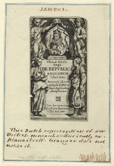 King James I of England and VI of Scotland in the Title page to Thomas Smith's 'De Republica Anglorum', after Unknown artist - NPG D25695