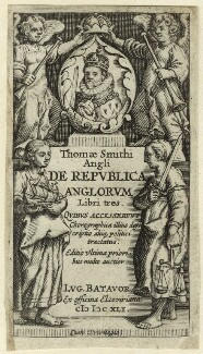 King James I of England and VI of Scotland in the Title page to Thomas Smith's 'De Republica Anglorum', after Unknown artist - NPG D25697