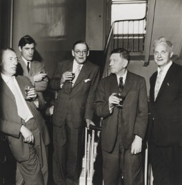 The Faber Poets ((Frederick) Louis MacNeice; Ted Hughes; T.S. Eliot; W.H. Auden; Stephen Spender), by Mark Gerson, 23 June 1960 - NPG  - © Mark Gerson / National Portrait Gallery, London