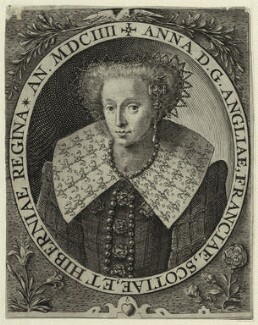 Anne of Denmark, by Crispijn de Passe the Elder, published 1604 - NPG D25722 - © National Portrait Gallery, London
