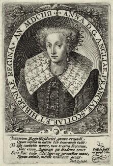 Anne of Denmark, by Crispijn de Passe the Elder, published 1604 - NPG D25725 - © National Portrait Gallery, London