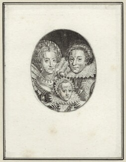 Princess Elizabeth, Queen of Bohemia and Electress Palatine; Frederick Henry, Prince of the Palatinate; Frederick V, King of Bohemia and Elector Palatine, by Simon de Passe - NPG D25750