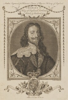 King Charles I, by T. Woodman, by  Henry Mutlow, after  Sir Anthony van Dyck - NPG D31965