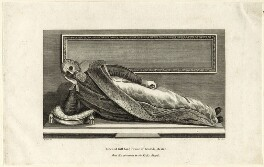 Effigy of Edward Bruce, 1st Baron Bruce of Kinloss on his Monument in the Rolls Chapel, by G. Barrett, after  W. Denton - NPG D25856