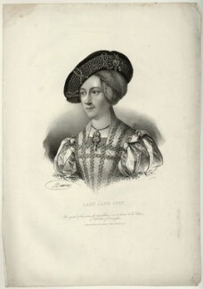 Anne, Queen of Hungary wrongly identified as Lady Jane Grey, by Antoine Maurin, printed by  François Le Villain, published by  Edward Bull, published by  Edward Churton, after  Hans Maler, 1820s (1519) - NPG D32036 - © National Portrait Gallery, London