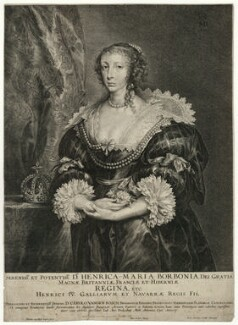 Henrietta Maria, by Pieter de Jode II, published by  M. Antonius, after  Sir Anthony van Dyck - NPG D32073