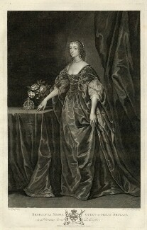 Henrietta Maria, by Pieter Stevens van Gunst, published by  John Boydell, published by  Josiah Boydell, after  Sir Anthony van Dyck - NPG D32074