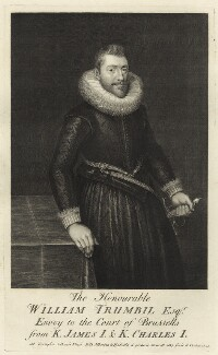 William Trumbull, by George Vertue, after  O. Venius - NPG D26054