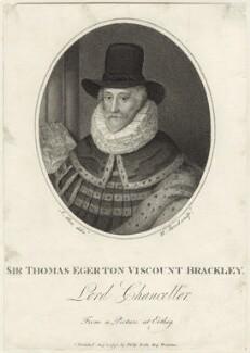 Thomas Egerton, 1st Viscount Brackley, by William Bond, published by  Philip Yorke, after  Joseph Allen - NPG D26066