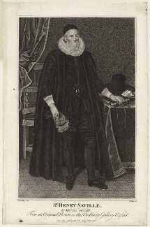 Sir Henry Saville, by R. Clamp, after  Marcus Gheeraerts the Younger - NPG D26135