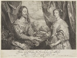 King Charles I; Henrietta Maria, by Robert van Voerst, after  Sir Anthony van Dyck - NPG D32047