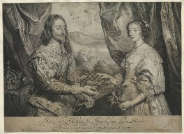 King Charles I; Henrietta Maria, by Robert van Voerst, after  Sir Anthony van Dyck - NPG D32048