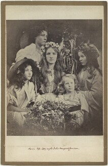 'May Day' (Kate ('Kittie') Keown; Mary Ann Hillier; Mary Ryan; William Frederick Gould and an unknown girl), by Julia Margaret Cameron, 1866 - NPG x18039 - © National Portrait Gallery, London