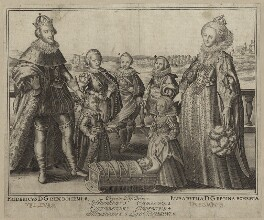 The King and Queen of Bohemia and their family, by Willem de Passe - NPG D26452