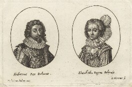 Frederick V, King of Bohemia and Elector Palatine and Princess Elizabeth, Queen of Bohemia and Electress Palatine, possibly by Balthasar Moncornet, after  Unknown artist, early 17th century - NPG D26454 - © National Portrait Gallery, London
