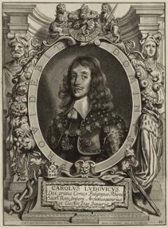 Charles Lewis (Louis), Elector Palatine, by Pieter de Jode I, after  Anselmus Hebbelynck, 1654 - NPG D26468 - © National Portrait Gallery, London