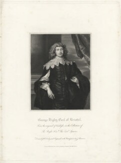 George Digby, 2nd Earl of Bristol, by James Thomson (Thompson), after  William Derby, after  Sir Anthony van Dyck - NPG D32149