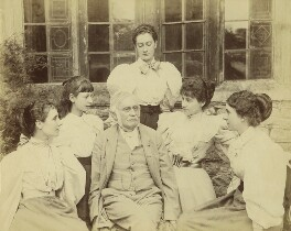 Sir Richard Strachey and daughters, by Graystone Bird - NPG x13118