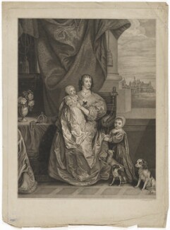 Queen Henrietta Maria and her two eldest children (Henrietta Maria; Mary, Princess Royal and Princess of Orange; King Charles II), by Bonnefoy, after  Sir Anthony van Dyck - NPG D32113