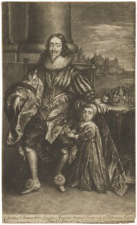 King Charles I; King Charles II, printed and sold by Thomas Bakewell, printed and sold by  Timothy Jordan, sold by  Thomas Taylor, after  Sir Anthony van Dyck - NPG D32115