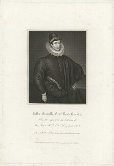 Fulke Greville, 1st Baron Brooke of Beauchamps Court, by Robert Cooper, after  William Hilton, after  Unknown artist - NPG D32176