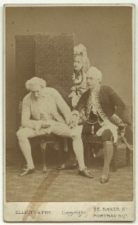 William Farren as Sir Peter Teazle; Amy Fawsitt as Lady Teazle; John Clayton as Joseph Surface in 'The School for Scandal', by Elliott & Fry - NPG x4334