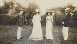 Lady Ottoline Morrell; Virginia Woolf; Lytton Strachey and an unknown man, by Unknown photographer - NPG Ax13011