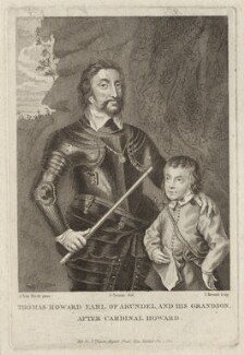 Thomas Howard, 14th Earl of Arundel; Thomas Howard, 5th Duke of Norfolk, by John Record, published by  John Thane, after  Sir Anthony van Dyck - NPG D26507