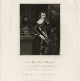 Robert Rich, 2nd Earl of Warwick, by John Henry Robinson, published by  Harding & Lepard, after  William Derby, after  Sir Anthony van Dyck - NPG D26539