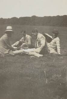 Lytton Strachey; Raymond Mortimer and two others, by Unknown photographer - NPG Ax13031