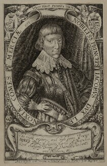 James Stuart, 1st Duke of Richmond and 4th Duke of Lennox, by Robert Vaughan, sold by  William Riddiard, after  George Geldorp - NPG D26583