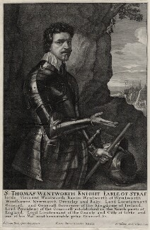 Thomas Wentworth, 1st Earl of Strafford, by Wenceslaus Hollar, after  Sir Anthony van Dyck - NPG D26590