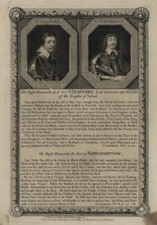 Thomas Wentworth, 1st Earl of Strafford and Spencer Compton, 2nd Earl of Northampton, by George Vertue, after  Sir Anthony van Dyck, and after  Cornelius Johnson (Cornelius Janssen van Ceulen) - NPG D26592