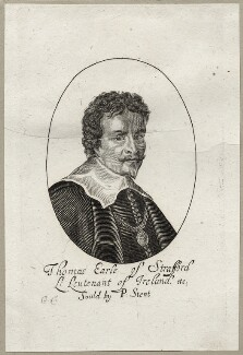 Thomas Wentworth, 1st Earl of Strafford, possibly by Richard Gaywood, published by  Peter Stent, mid 17th century - NPG D26598 - © National Portrait Gallery, London