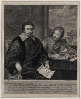 Thomas Wentworth, 1st Earl of Strafford and Sir Philip Mainwaring, by George Vertue, after  Sir Anthony van Dyck - NPG D26603