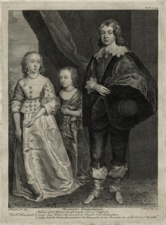 Anne, Lady Rockingham; Arabella, Viscountess Mountcashel; William Wentworth, 2nd Earl of Strafford, by George Vertue, after  Sir Anthony van Dyck - NPG D26605
