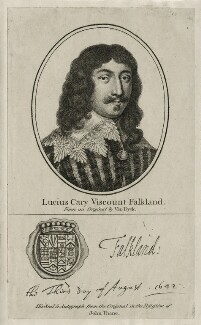 Lucius Cary, 2nd Viscount Falkland, after Sir Anthony van Dyck, published by  John Thane - NPG D26677