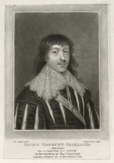Lucius Cary, 2nd Viscount Falkland, by Charles Turner, after  Cornelius Johnson (Cornelius Janssen van Ceulen), published by  Samuel Woodburn - NPG D26680