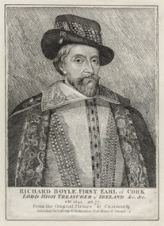 King James I of England and VI of Scotland wrongly identified as Richard Boyle, 1st Earl of Cork, after Unknown artist, published by  William Richardson - NPG D26690