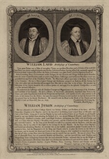 William Laud; William Juxon, by George Vertue, published by  John Ryall, and published by  Robert Withy - NPG D26717