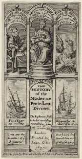 The title to page to Donald Lupton's ''The History of the Moderne Protestant Divines'', 1637, after Unknown artist, published by  Andrew Crooke - NPG D26815